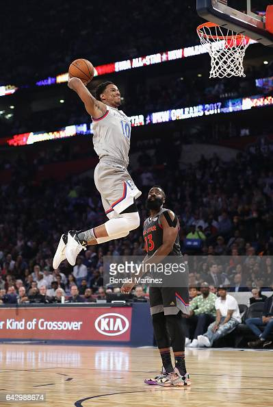 DeMar DeRozan of the Toronto Raptors drives to the basket as James Harden of the Houston Rockets looks on in the first half of the 2017 NBA AllStar...