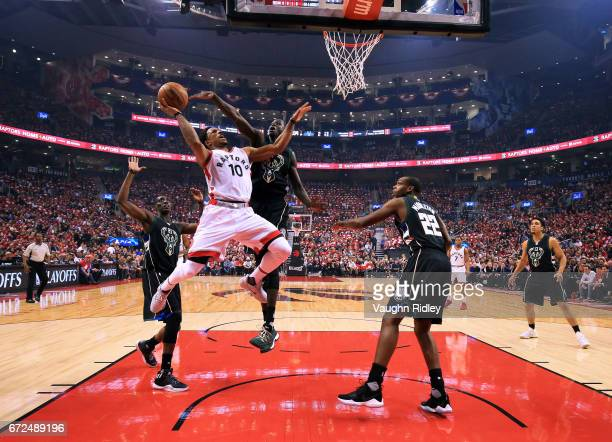 DeMar DeRozan of the Toronto Raptors drives to the basket as Thon Maker of the Milwaukee Bucks defends in the first half of Game Five of the Eastern...