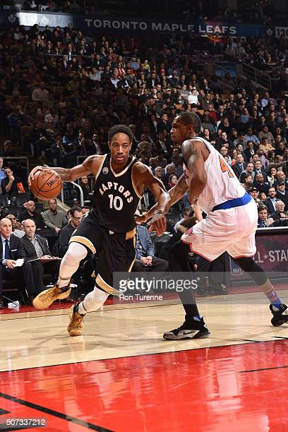DeMar DeRozan of the Toronto Raptors drives to the basket during the game against the New York Knicks on January 28 2016 at the Air Canada Centre in...