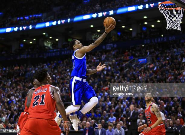 DeMar DeRozan of the Toronto Raptors drives to the basket during the first half of an NBA game against the Chicago Bulls at Air Canada Centre on...