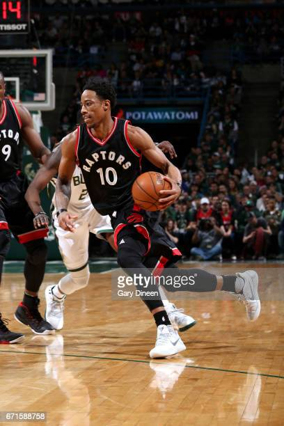 DeMar DeRozan of the Toronto Raptors drives to the basket during the game against the Milwaukee Bucks in Game Four during the Eastern Conference...