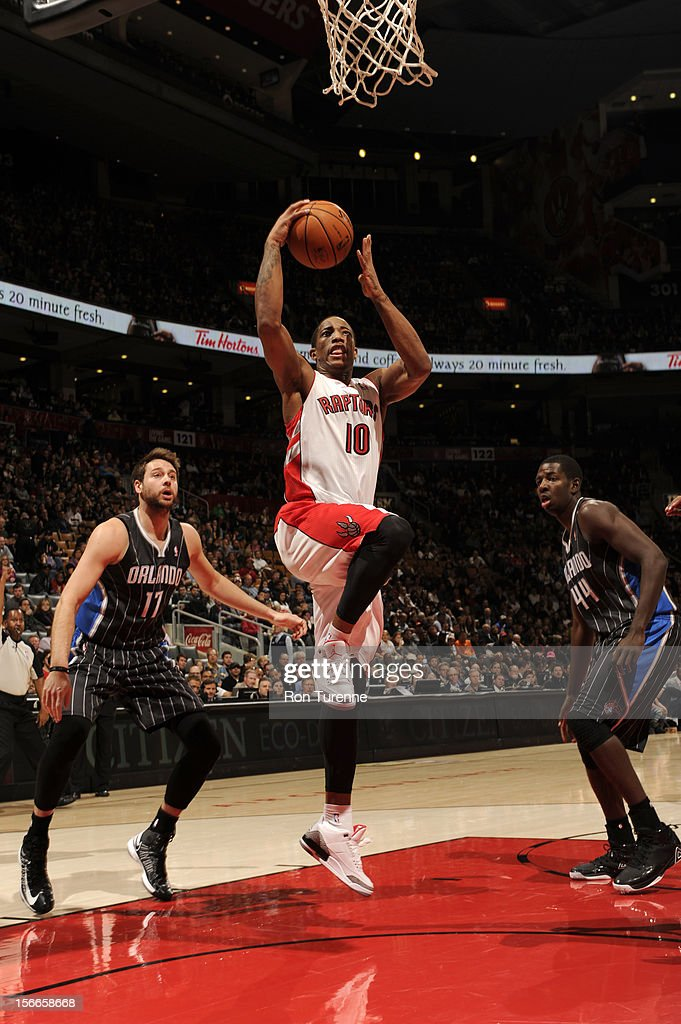 DeMar DeRozan #10 of the Toronto Raptors drives to the hoop vs the Orlando Magic in a game on November 18, 2012 at the Air Canada Centre in Toronto, Ontario, Canada.