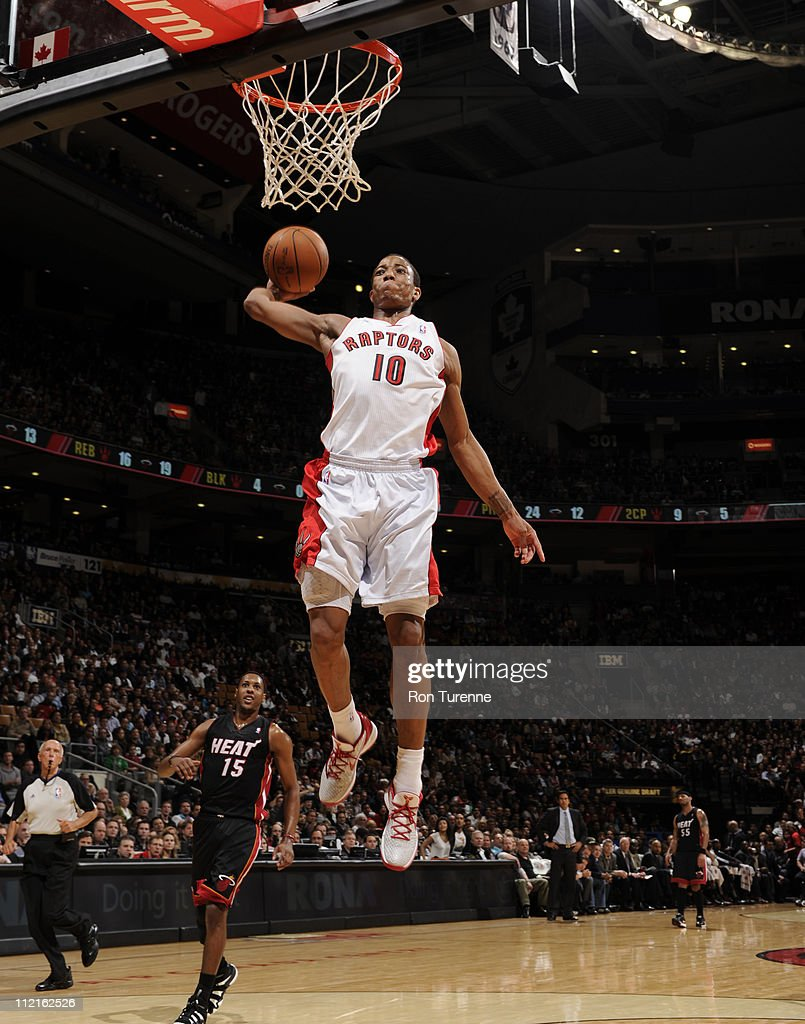 DeMar DeRozan #10 of the Toronto Raptors dunks against the Miami Heat during a game on April 13, 2011 at the Air Canada Centre in Toronto, Ontario, Canada.