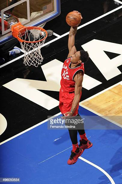 DeMar DeRozan of the Toronto Raptors dunks against the Orlando Magic during the game on November 6 2015 at Amway Center in Orlando Florida NOTE TO...
