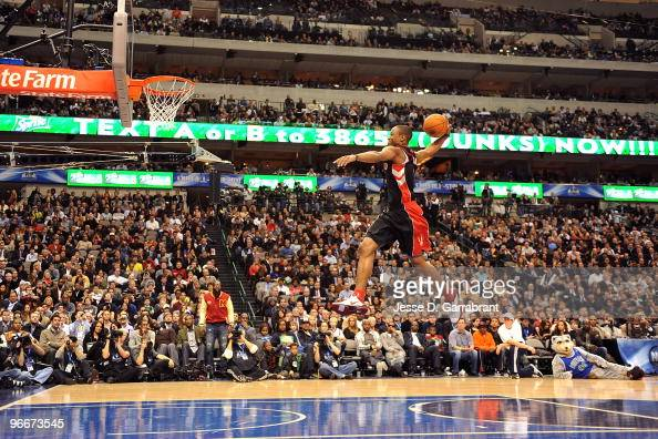 DeMar DeRozan of the Toronto Raptors dunks during the Sprite Slam Dunk Contest on AllStar Saturday Night as part of 2010 NBA AllStar Weekend at...