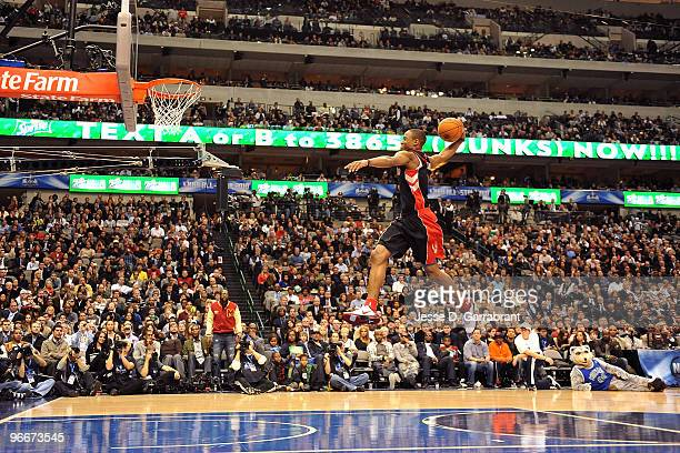 DeMar DeRozan of the Toronto Raptors dunks during the Sprite Slam Dunk Contest on AllStar Saturday Night as part of 2010 NBA AllStar Weekend at...