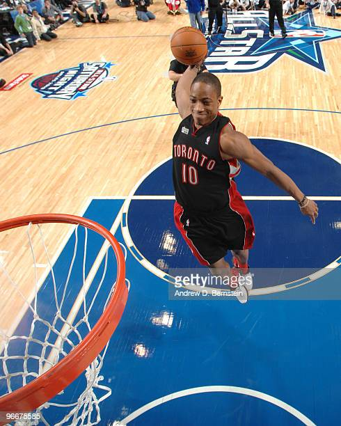 DeMar DeRozan of the Toronto Raptors dunks during the Sprite Slam Dunk Contest during AllStar Saturday Night as part of 2010 NBA AllStar Weekend on...