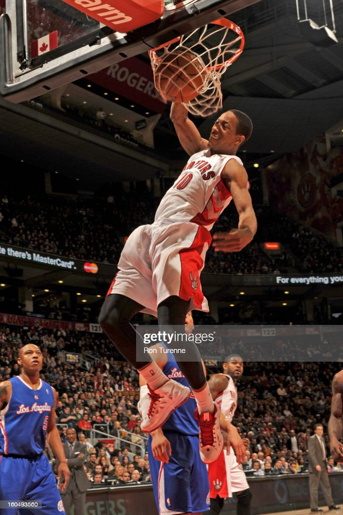 DeMar DeRozan #10 of the Toronto Raptors dunks the ball against the Los Angeles Clippers on February 1, 2013 at the Air Canada Centre in Toronto, Ontario, Canada.