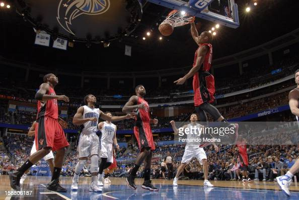 DeMar DeRozan of the Toronto Raptors dunks the ball against the Orlando Magic during the game on December 29 2012 at Amway Center in Orlando Florida...