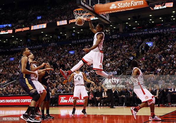 DeMar DeRozan of the Toronto Raptors dunks the ball during an NBA game against the New Orleans Pelicans at the Air Canada Centre on November 13 2015...