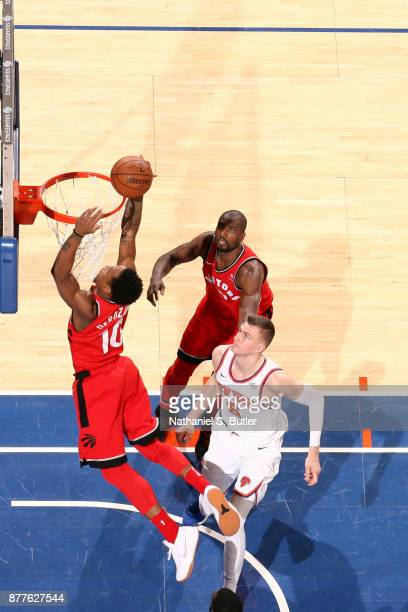 DeMar DeRozan of the Toronto Raptors dunks the ball during the game against the New York Knicks on November 22 2017 at Madison Square Garden in New...