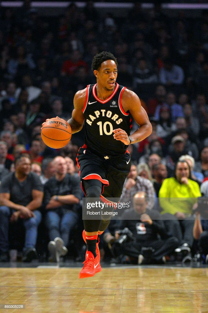 DeMar DeRozan #10 of the Toronto Raptors during the game against the Los Angeles Clippers on December 11, 2017 at STAPLES Center in Los Angeles, California.