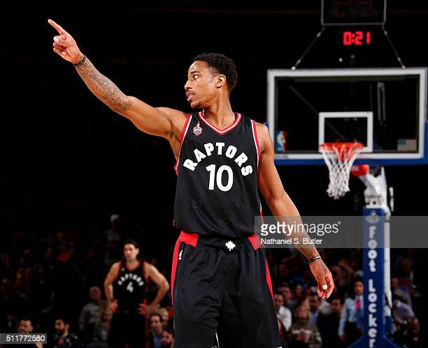 DeMar DeRozan of the Toronto Raptors during the game against the New York Knicks on February 22 2016 at Madison Square Garden in New York City NOTE...
