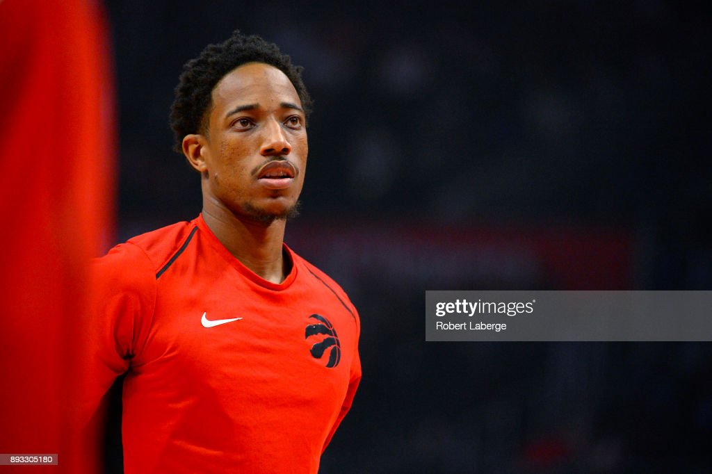 DeMar DeRozan #10 of the Toronto Raptors during warm up before the game against the Los Angeles Clippers on December 11, 2017 at STAPLES Center in Los Angeles, California.