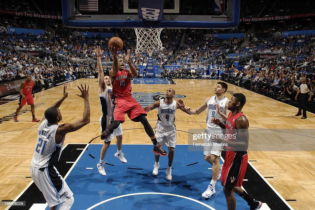 DeMar DeRozan #10 of the Toronto Raptors finger rolls the ball in against the Orlando Magic during the game on December 29, 2012 at Amway Center in Orlando, Florida.
