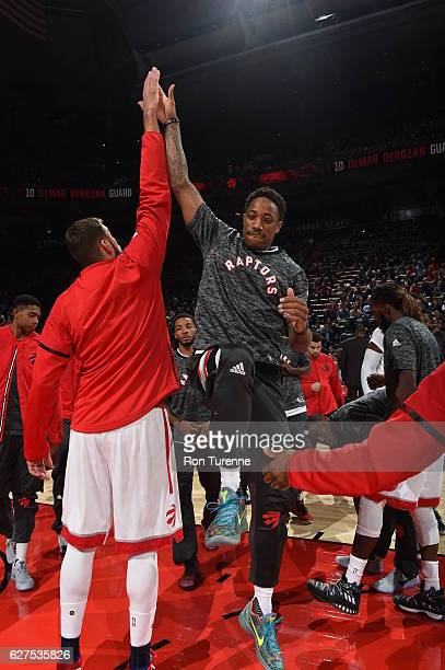 DeMar DeRozan of the Toronto Raptors gets introduced before the game against the Denver Nuggets on October 31 2016 at the Air Canada Centre in...
