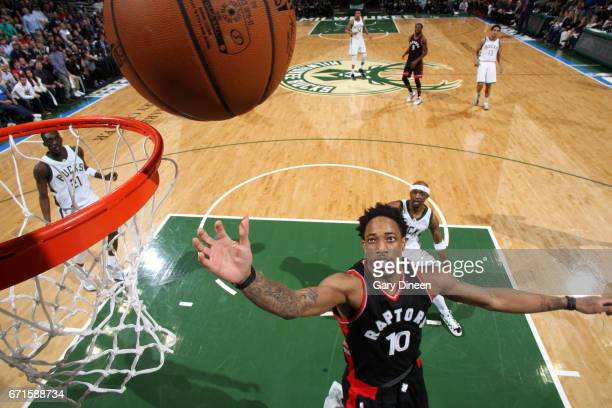 DeMar DeRozan of the Toronto Raptors gets the rebound during the game against the Milwaukee Bucks in Game Four during the Eastern Conference...