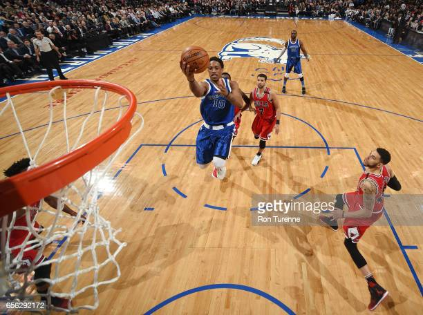 DeMar DeRozan of the Toronto Raptors goes for a lay up against the Chicago Bulls during the game on March 21 2017 at the Air Canada Centre in Toronto...