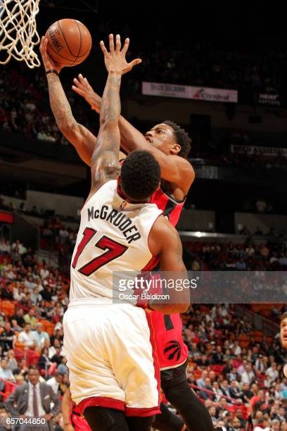 DeMar DeRozan of the Toronto Raptors goes for a lay up during the game against the Miami Heat on March 23 2017 at AmericanAirlines Arena in Miami...