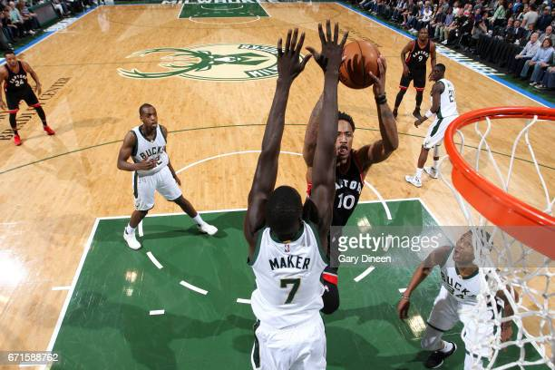 DeMar DeRozan of the Toronto Raptors goes for a lay up during the game against the Milwaukee Bucks in Game Four during the Eastern Conference...