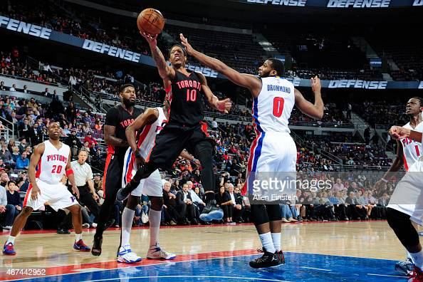 DeMar DeRozan of the Toronto Raptors goes for the layup against the Detroit Pistons during the game on March 24 2015 at The Palace of Auburn Hills in...