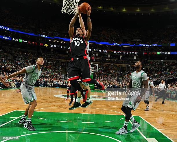 DeMar DeRozan of the Toronto Raptors goes for the layup against the Boston Celtics during the game on October 30 2015 at the TD Garden in Boston...