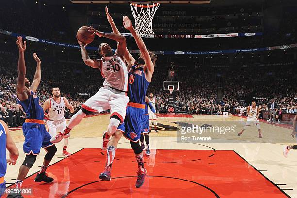 DeMar DeRozan of the Toronto Raptors goes for the layup against the New York Knicks during the game on November 10 2015 at Air Canada Centre in...
