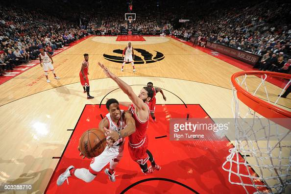 DeMar DeRozan of the Toronto Raptors goes for the layup against the Chicago Bulls during the game on January 3 2016 at Air Canada Centre in Toronto...