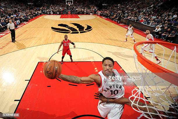 DeMar DeRozan of the Toronto Raptors goes for the layup during the game against the Los Angeles Clippers on January 24 2016 at the Air Canada Centre...