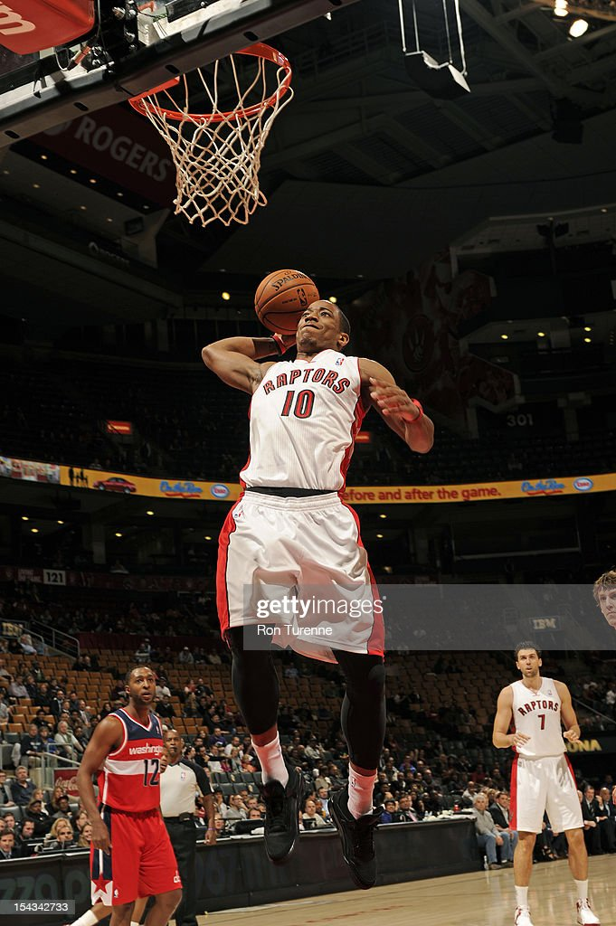 DeMar DeRozan #10 of the Toronto Raptors goes in for the dunk against the Washington Wizards on October 17, 2012 at the Air Canada Centre in Toronto, Ontario, Canada.