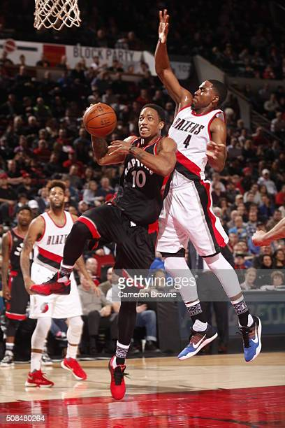 DeMar DeRozan of the Toronto Raptors goes to the basket against Maurice Harkless of the Portland Trail Blazers on February 4 2016 at the Moda Center...