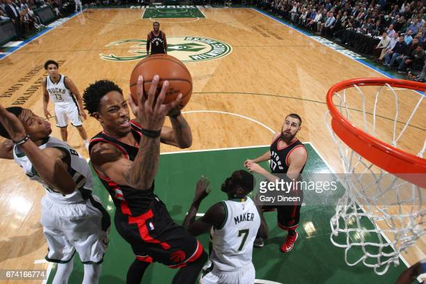 DeMar DeRozan of the Toronto Raptors goes to the basket against the Milwaukee Bucks during Game Six of the Eastern Conference Quarterfinals of the...