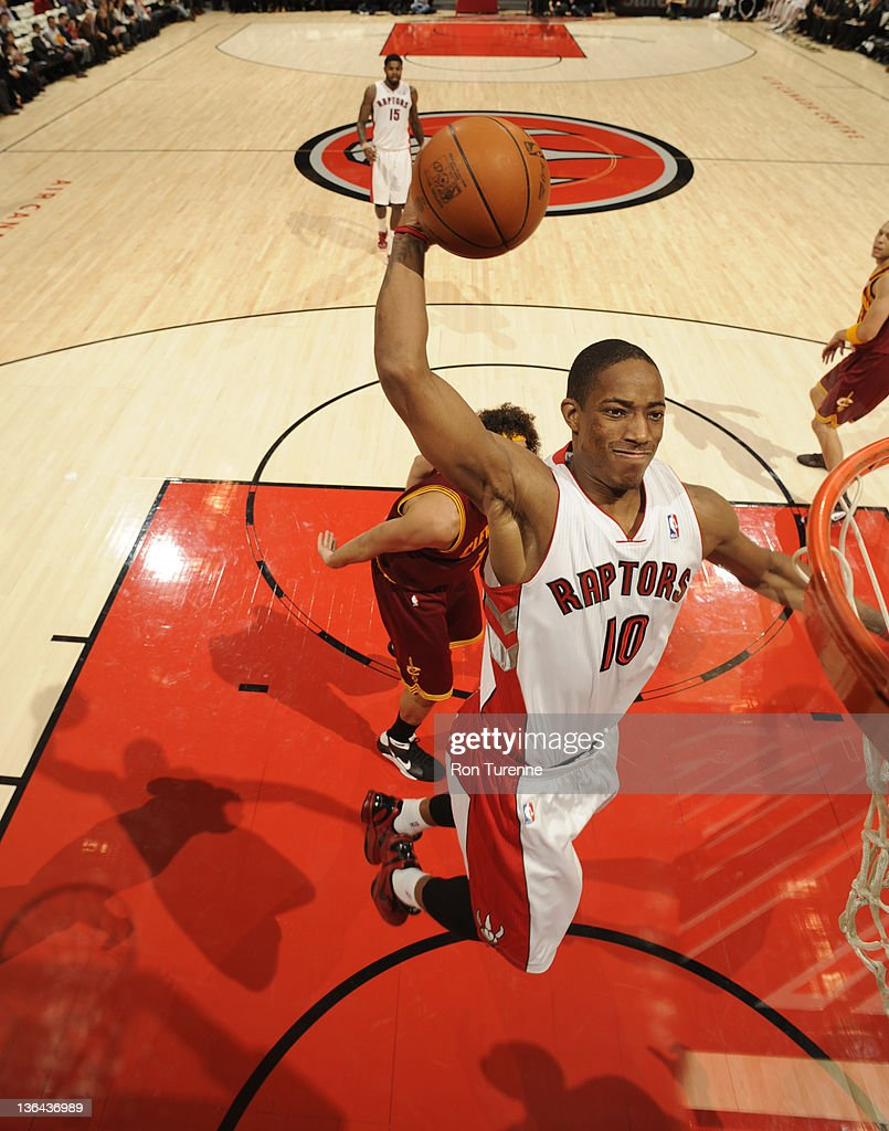 DeMar DeRozan #10 of the Toronto Raptors goes to the basket during the game between Cleveland Cavaliers and the Toronto Raptors on January 4, 2012 at the Air Canada Centre in Toronto, Ontario, Canada.