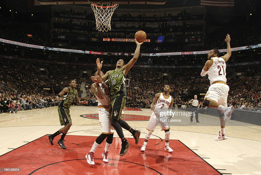 DeMar DeRozan #10 of the Toronto Raptors goes to the basket during the game between the Toronto Raptors and the Cleveland Cavaliers on January 26, 2013 at the Air Canada Centre in Toronto, Ontario, Canada.