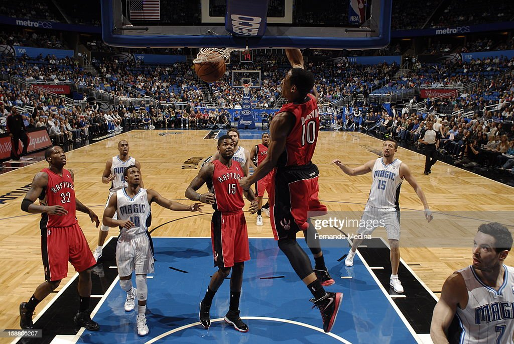 DeMar DeRozan #10 of the Toronto Raptors goes up and dunks the ball against the Orlando Magic during the game on December 29, 2012 at Amway Center in Orlando, Florida.