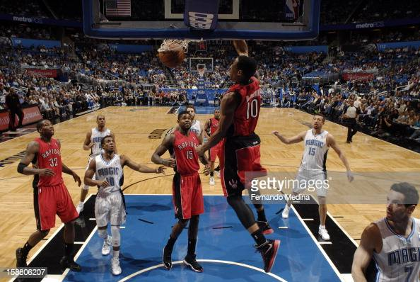 DeMar DeRozan of the Toronto Raptors goes up and dunks the ball against the Orlando Magic during the game on December 29 2012 at Amway Center in...