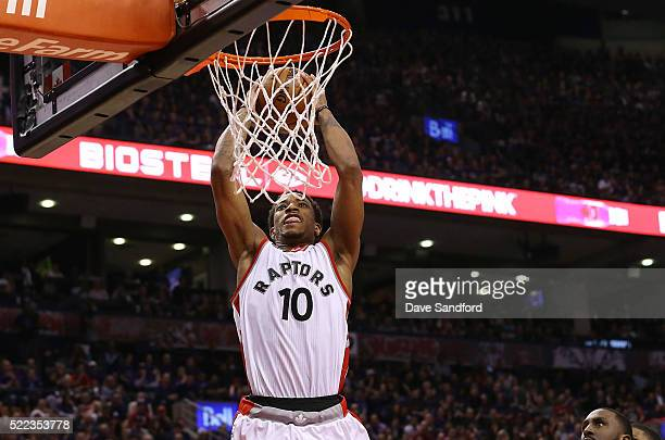 DeMar DeRozan of the Toronto Raptors goes up for a dunk against the Indiana Pacers in Game Two of the Eastern Conference Quarterfinals during the...