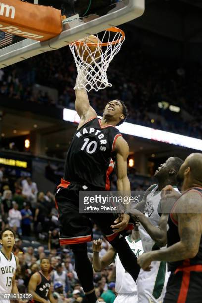 DeMar DeRozan of the Toronto Raptors goes up for a dunk against the Milwaukee Bucks during Game Four of the Eastern Conference Quarterfinals of the...