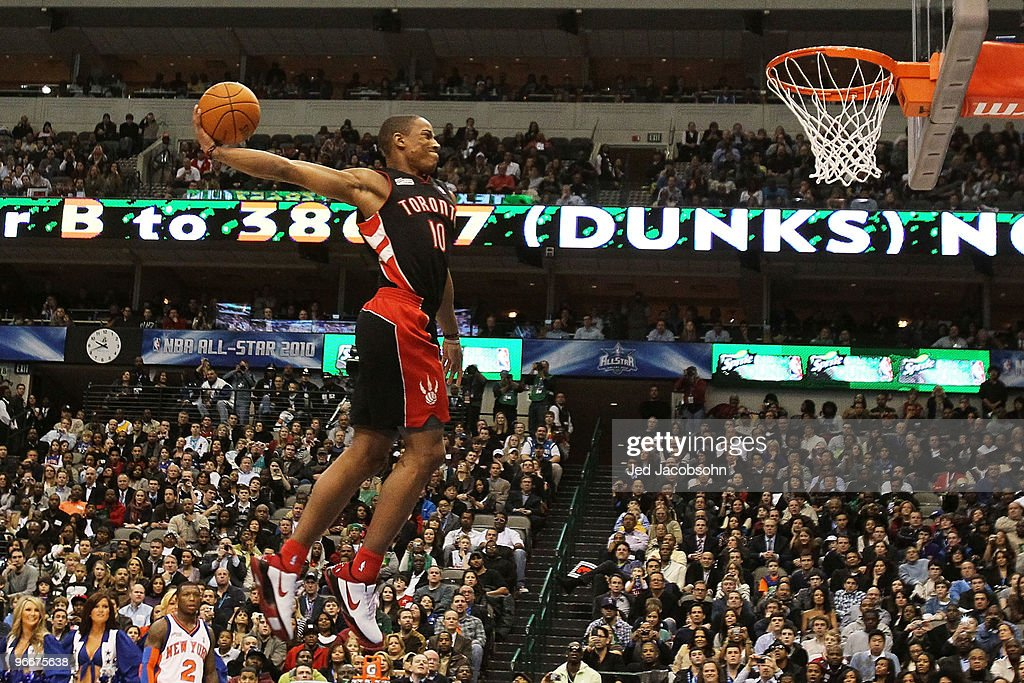 DeMar DeRozan #10 of the Toronto Raptors goes up for a dunk during the Sprite Slam Dunk Contest on All-Star Saturday Night, part of 2010 NBA All-Star Weekend at American Airlines Center on February 13, 2010 in Dallas, Texas.