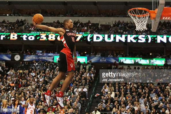 DeMar DeRozan of the Toronto Raptors goes up for a dunk during the Sprite Slam Dunk Contest on AllStar Saturday Night part of 2010 NBA AllStar...