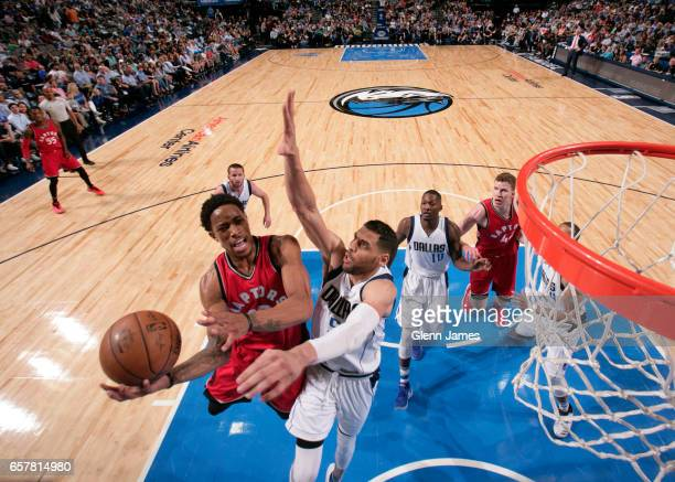 DeMar DeRozan of the Toronto Raptors goes up for a lay up against the Dallas Mavericks on March 25 2017 at the American Airlines Center in Dallas...
