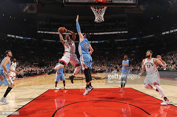 DeMar DeRozan of the Toronto Raptors goes up for a shot against Jusuf Nurkic of the Denver Nuggets during a game on October 31 2016 at the Air Canada...