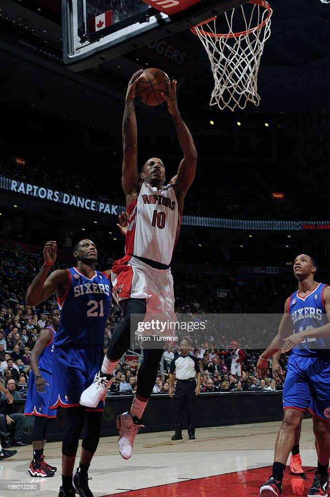 DeMar DeRozan #10 of the Toronto Raptors goes up for the dunk against the Philadelphia 76ers during the game on January 9, 2013 at the Air Canada Centre in Toronto, Ontario, Canada.