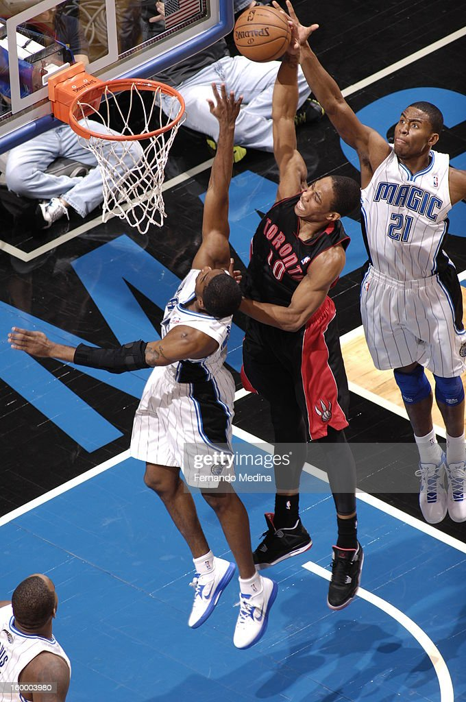 DeMar DeRozan #10 of the Toronto Raptors goes up for the dunk against the Orlando Magic during the game on January 24, 2013 at Amway Center in Orlando, Florida.