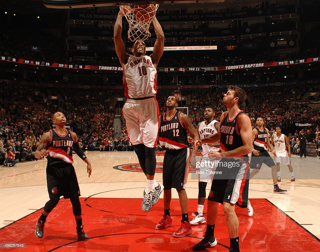 DeMar DeRozan of the Toronto Raptors goes up for the dunk against the Portland Trail Blazers during the game on November 17, 2013 at the Air Canada Centre in Toronto, Ontario, Canada.