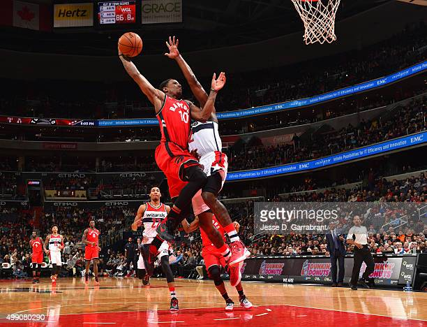 DeMar DeRozan of the Toronto Raptors goes up for the dunk during the game against the Washington Wizards on November 28 2015 at Verizon Center in...