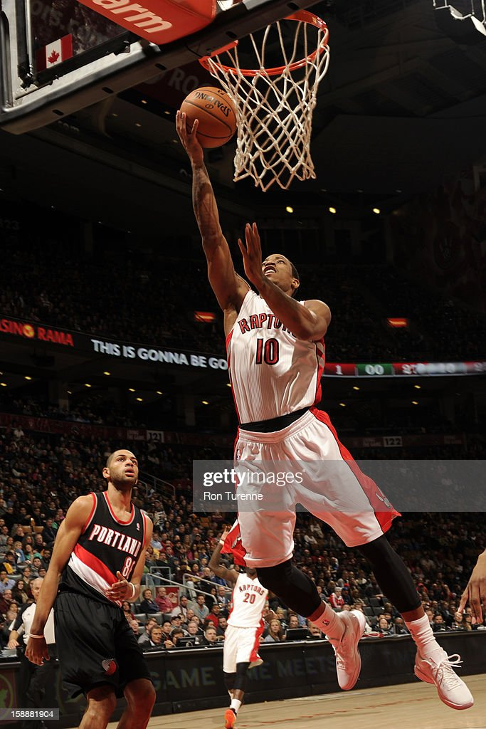 DeMar DeRozan #10 of the Toronto Raptors goes up for the easy bucket against the Portland Trail Blazers during the game on January 2, 2013 at the Air Canada Centre in Toronto, Ontario, Canada.