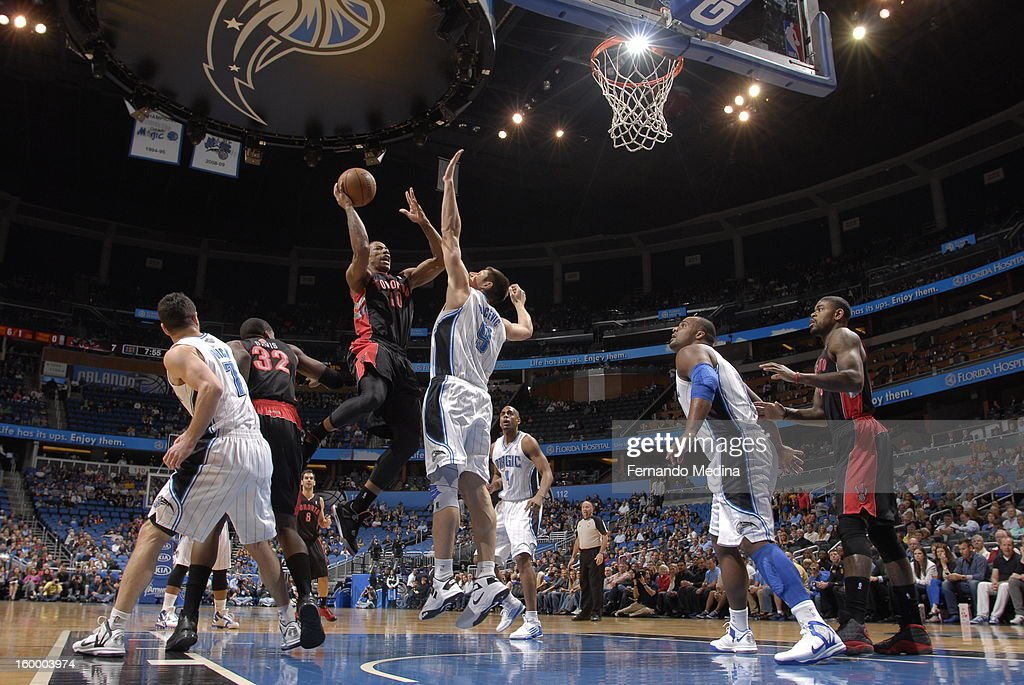 DeMar DeRozan #10 of the Toronto Raptors goes up for the layup against the Orlando Magic during the game on January 24, 2013 at Amway Center in Orlando, Florida.