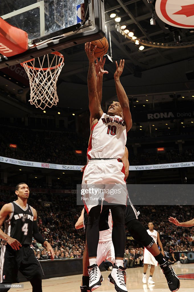 DeMar DeRozan #10 of the Toronto Raptors goes up for the layup vs the San Antonio Spurs during the game on November 25, 2012 at the Air Canada Centre in Toronto, Ontario, Canada.