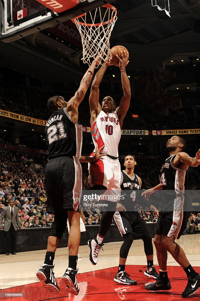 DeMar DeRozan #10 of the Toronto Raptors goes up for the shot vs the San Antonio Spurs during the game on November 25, 2012 at the Air Canada Centre in Toronto, Ontario, Canada.